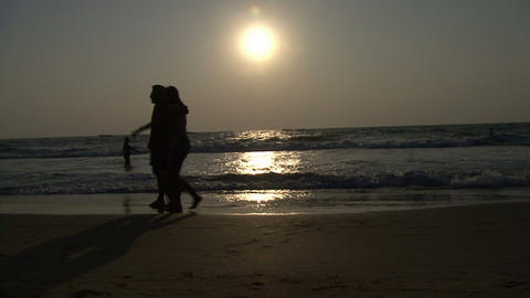 family sunset wave sea Footage