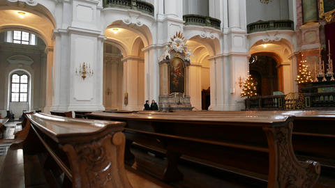 Inside The Dresden Cathedral stock footage