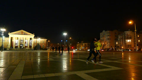 The Heroes Square in Budapest at night Footage