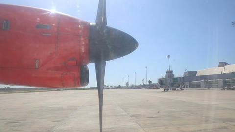rotating aircraft engine propeller at background o Footage