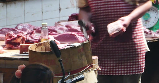 4k Butcher Selling Fresh Meat In Local Asian Market,Shangri-La China stock footage