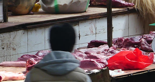 4k Butcher Selling Fresh Meat In Local Asian Market,Shangri-La china Footage