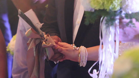 Bride And Groom Holds Knife Cut Wedding Cake stock footage