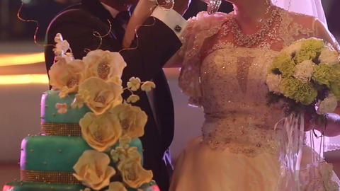 groom and bride hold bouquet drink champagne Footage