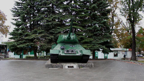 The original tank T-34 of the WW2, standing in the Footage