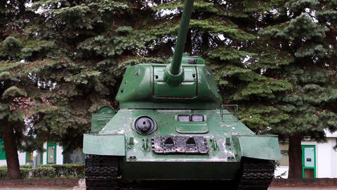 Vertical Pan Of The Original Tank T-34 Of The Seco stock footage