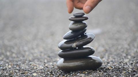 Pyramid of pebbles Footage
