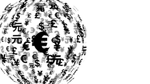 4k UHD currency symbols globe rotating 11600 Animation