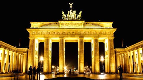 The Brandenburger Gate In Berlin At Night stock footage