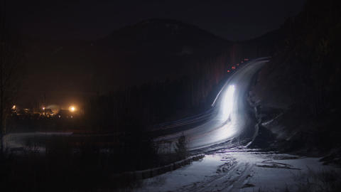 Night Mountain Road Timelapse Footage