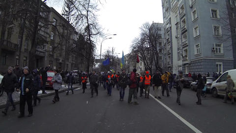 Strike in Ukraine - march of the strikers. encounter of opposing forces! Footage
