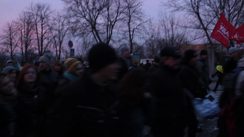 Riots in Ukraine - March of the strikers (procession) Footage