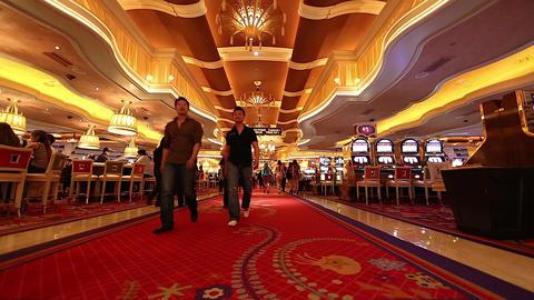 2 angles - people walking inside the wynn casino h Footage