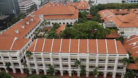 2 angles - aerial of raffles hotel and long bar Live Action