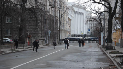 Riots in Ukraine - Police preparing the streets for the forthcoming strike Footage