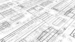 60fps Construction Drawings Perspective White stock footage