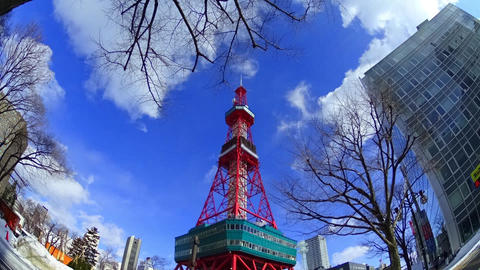 Japan Hokkaidou Sapporocity TV Tower 7 stock footage