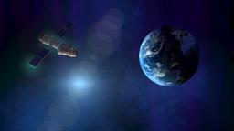 Satellite orbiting earth Footage