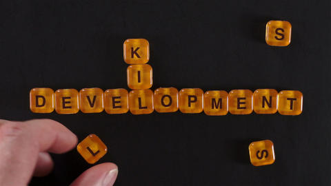Letters Blocks Spell Skills Development stock footage