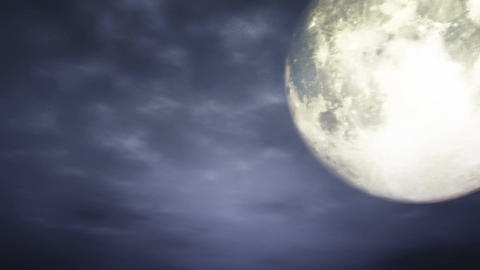 Full Moon at Cloudy Night 3 D Animation 1 Stock Video Footage