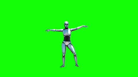 Dancing Robot Girl (Green Screen) stock footage