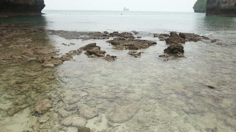 sea stony coast with very transparent water Footage