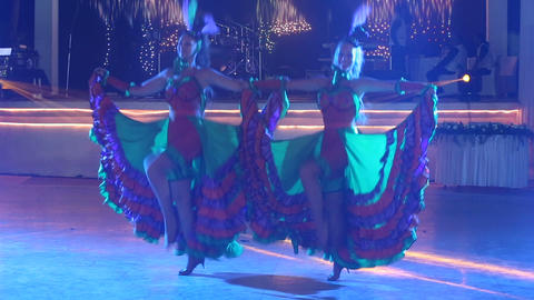 two girls in cabaret costumes dance cancan Footage