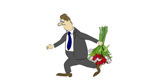 Cartoon businessman brings a bouquet, but he was r Animation