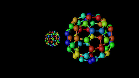Fullerene molecules spinning Stock Video Footage