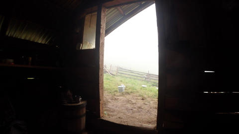 Inside of the open doorway wooden summer huts of s Footage