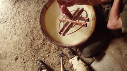 mountain farmer ancient tradition whisk cheese fro Footage