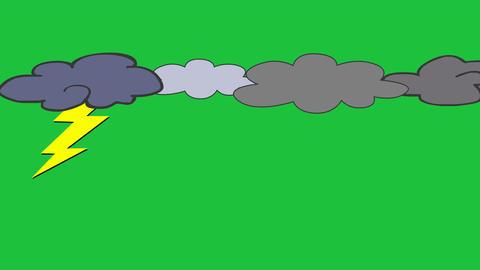 Cartoon Multi-Cloud Thunderstorm: Looping + Matte Animation