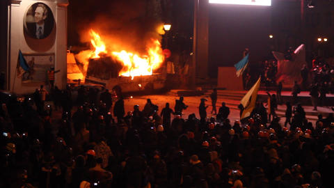 Strike In Ukraine - A New Wave: Police Bus In Fire stock footage