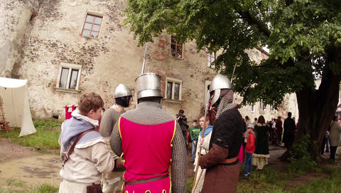Reporting From The Festival Of Medieval Culture, Knights In Armor stock footage