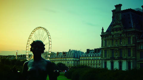 Statues From Jardin Des Tuileries With Ferris Whee stock footage