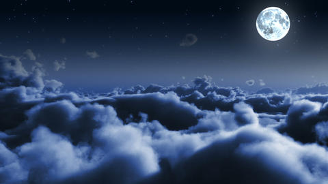 Night flight over clouds with stars and Moon Animation