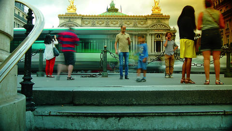 PARIS : Rush Hour In Paris,view Of The Opera Garni stock footage