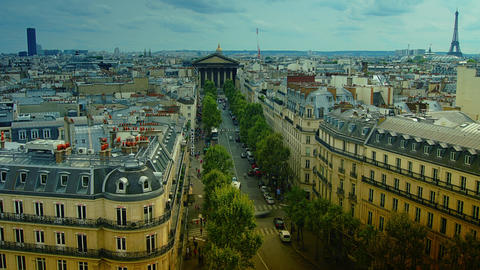 Scenes of daily Paris, panoramic view from the top Live Action