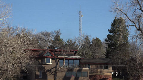 Cellular Antennae To Close To Residential Houses stock footage
