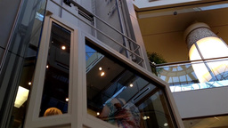 Modern elevator inside mall in Burnaby BC Canada Footage