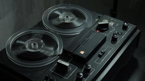 Ungraded: Reel-To-Reel Tape Recorder Rewinds Tape stock footage