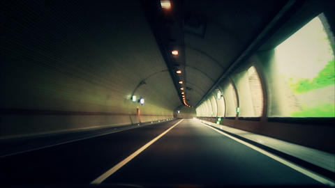 machine drives into a tunnel Footage