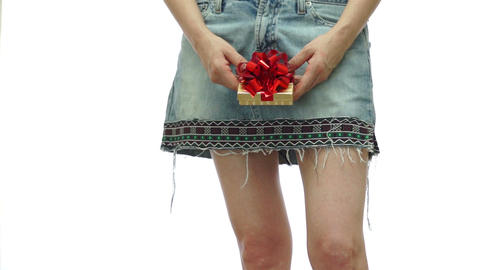 Female In Skirt In Center With Present stock footage