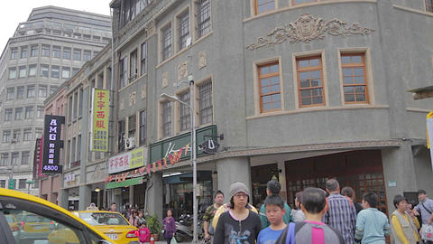 pan an upward tilt - colonial architecture in Taip Live Action
