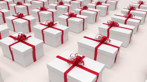 White gift boxes. (loop-ready file) Animation