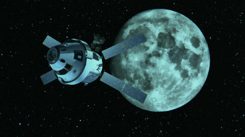 View from camera at the space probe and Moon Animation