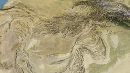 Afghanistan, Glide Over The Map, Outlined stock footage