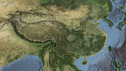 China, glide over the map, outlined Animation