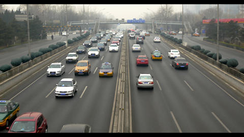 Beijing Smoggy Traffic HD stock footage