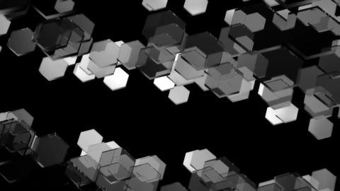 flying monochrome hexagon Animation